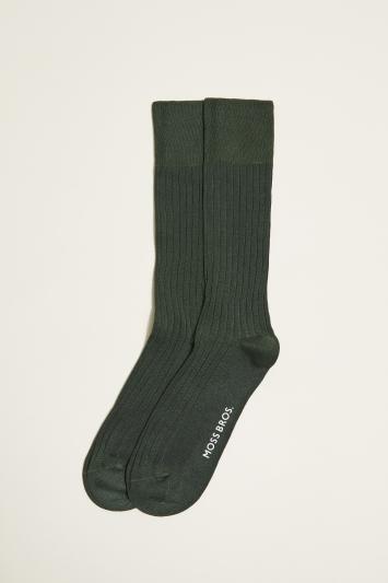 Moss 1851 British Racing Green Fine Ribbed Sock