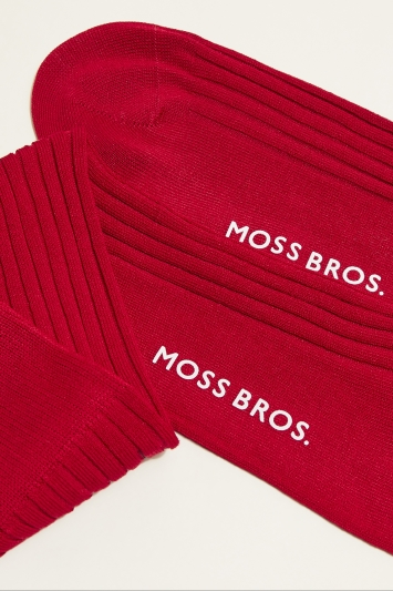 Moss 1851 Guards Red Fine Ribbed Sock