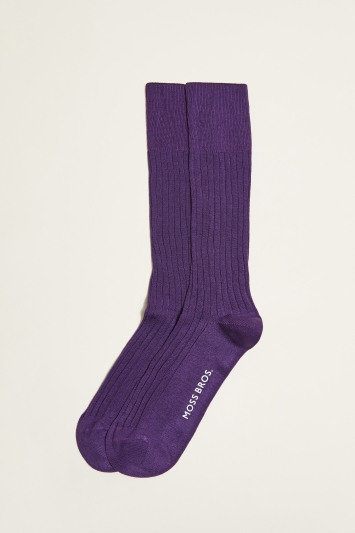 Moss 1851 Purple Fine Ribbed Sock