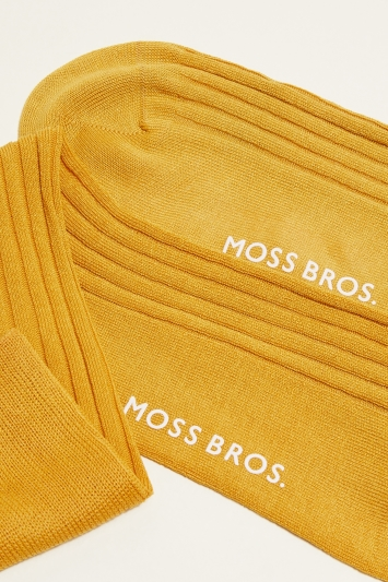 Moss 1851 Mustard Fine Ribbed Sock