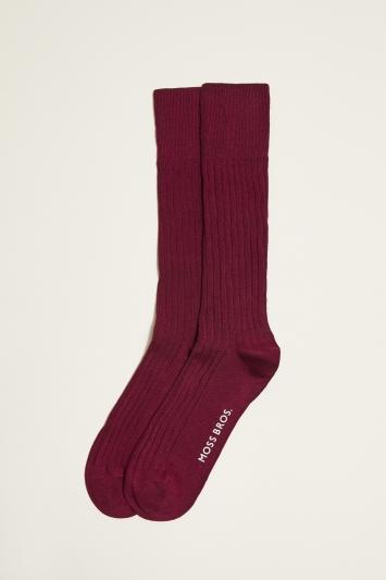 Moss 1851 Burgundy Fine Ribbed Sock