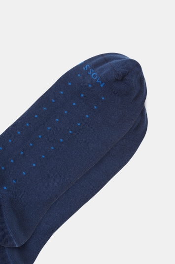 Moss 1851 Navy with Blue Spot Sock