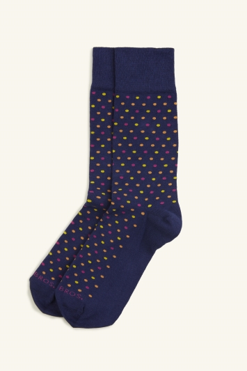 Moss 1851 Navy with Red, Orange & Yellow Spot Sock