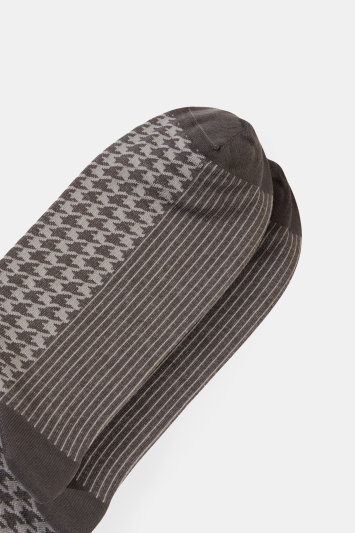 Moss 1851 Charcoal with Grey Dogstooth Fine Gauge Sock