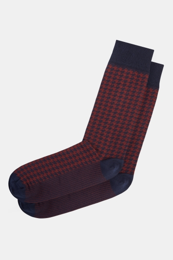 Moss 1851 Navy with Burgundy Dogstooth Fine Gauge Sock