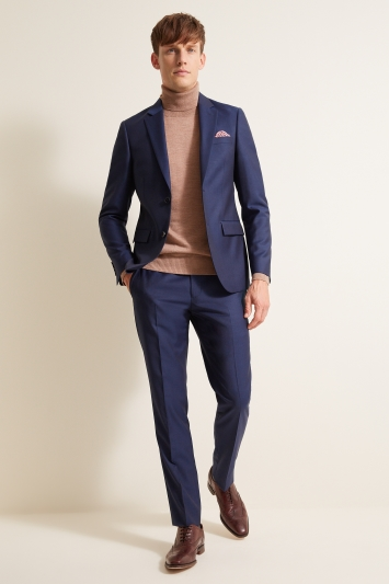 DKNY Slim Fit Blue Sharkskin Jacket
