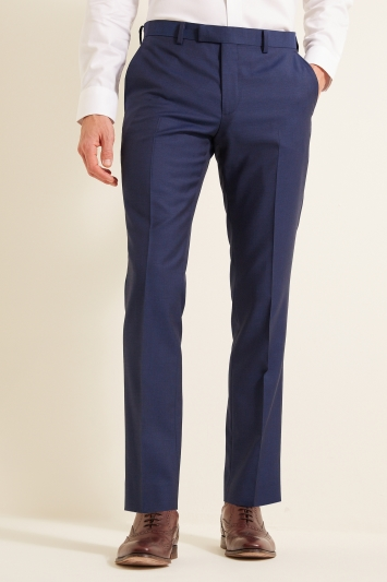 DKNY Slim Fit Blue Sharkskin Trousers