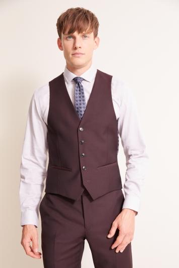 DKNY Slim Fit Burgundy Waistcoat