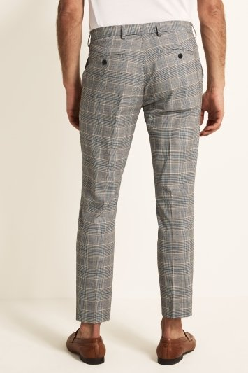 Moss London Slim Fit Blue and Caramel Check Trousers