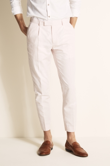 Slim Fit Pink Linen Blend Trousers