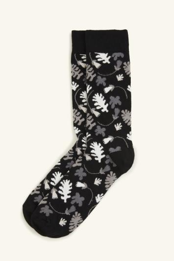 HS by Happy Socks Black Leaf Pattern Sock