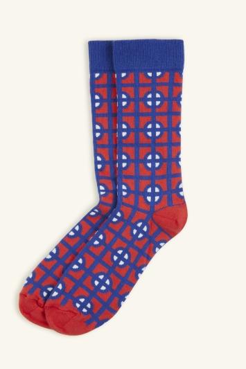 HS by Happy Socks Red & Cobalt Geo Block Sock
