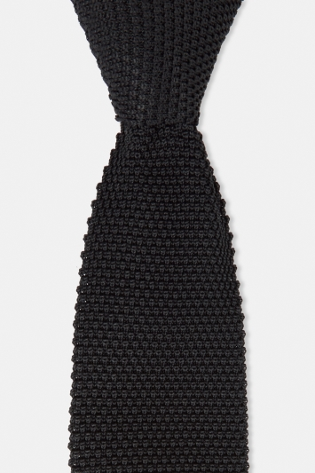 Moss London Black Knitted eco Tie