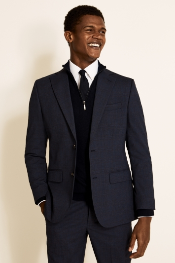 Tailored Fit Navy Red Check Jacket