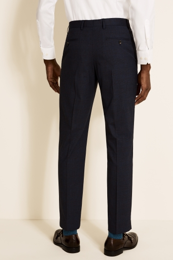 Tailored Fit Navy Red Check Trousers