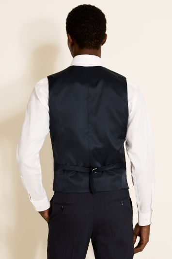 Tailored Fit Navy Red Check Waistcoat