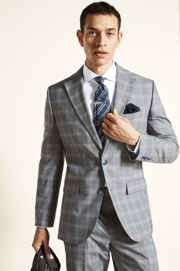 Tailored Fit Grey Blue Check Jacket