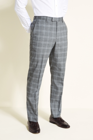 Moss 1851 Tailored Fit Grey with Blue Check Jacket