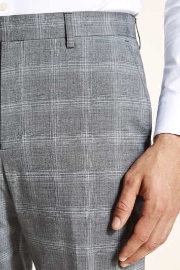 Tailored Fit Grey Blue Check Trousers