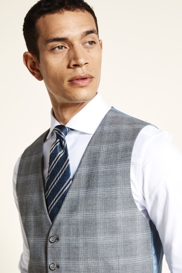 Tailored Fit Grey Blue Check Waistcoat