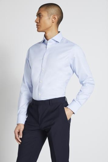 Tailored Fit Sky Textured Zero Iron Shirt