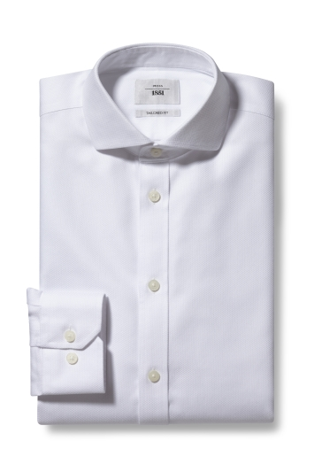 Moss 1851 Tailored Fit White Single Cuff Arrow Weave Zero Iron Shirt