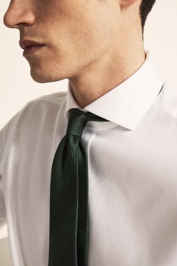 Moss 1851 Tailored Fit White Single Cuff Arrow Weave Zero Iron Shirt