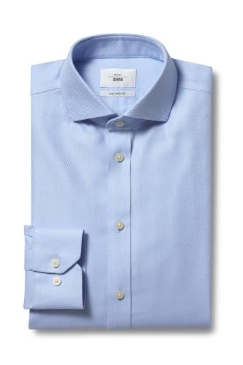 Moss 1851 Tailored Fit Sky Single Cuff Arrow Weave Zero Iron Shirt