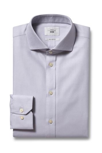 Moss 1851 Tailored Fit Grey Single Cuff Arrow Weave Zero Iron Shirt