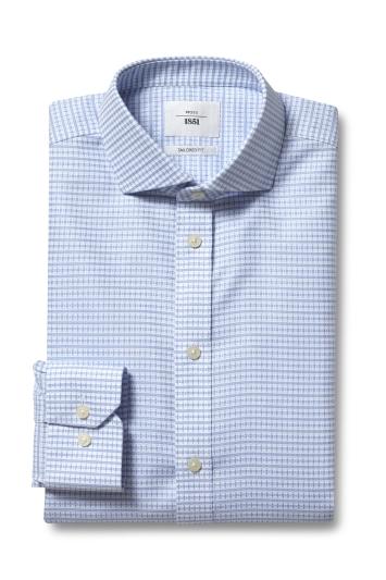 Moss 1851 Tailored Fit Sky Single Cuff Grid Texture Zero Iron Shirt