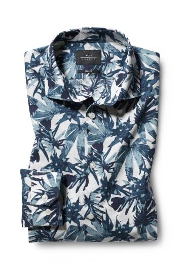 Moss London Slim Fit Green Single Cuff Leaf Print Shirt