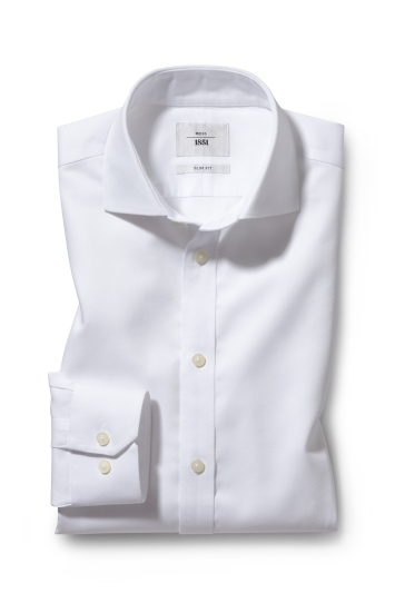 Slim Fit White Chevron Zero Iron Shirt