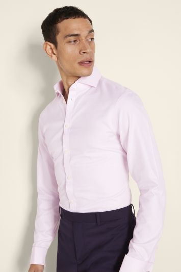 Moss 1851 Slim Fit Pink Double Cuff Puppytooth Zero Iron Shirt