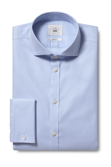 Slim Fit Blue Double Cuff Puppytooth Zero Iron Shirt