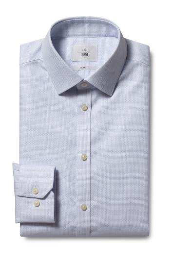 Slim Fit Blue Dobby Zero Iron Shirt