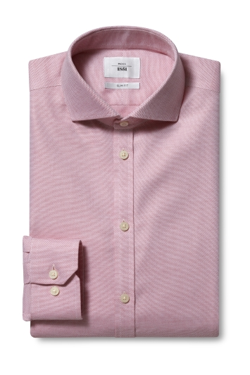 Moss 1851 Slim Fit Red Single Cuff Dobby Weave Zero Iron Shirt