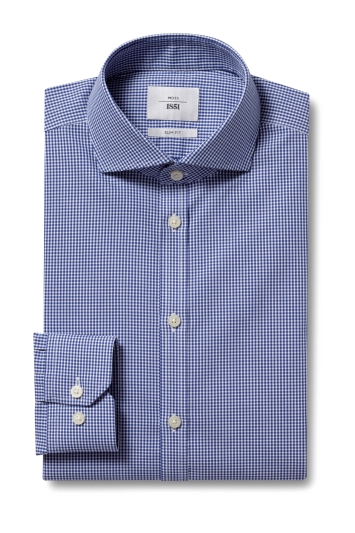 Slim Fit Navy Check Zero Iron Shirt