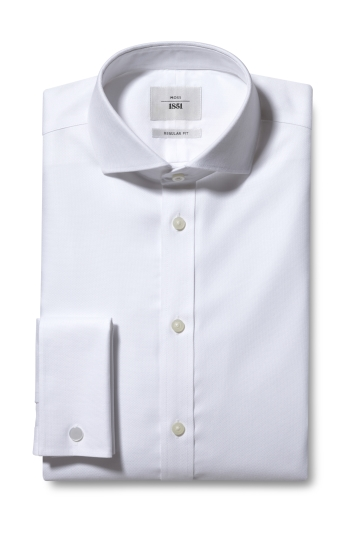 Moss 1851 Regular Fit White Double Cuff Textured Zero Iron Shirt