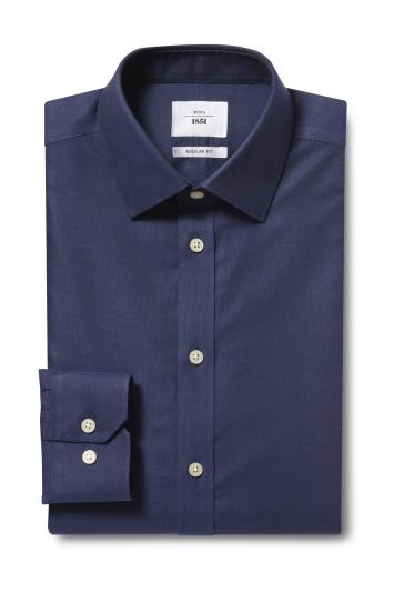 Moss 1851 Regular Fit Navy Single Cuff Textured Zero Iron Shirt