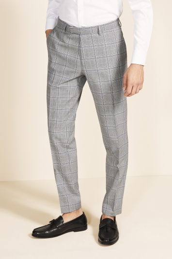 Moss 1851 Tailored Fit eco Black & White with Sky Check Trouser