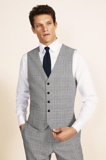 Moss 1851 Tailored Fit eco Black & White with Sky Check Waistcoat