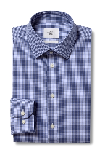 Moss 1851 Regular Fit Navy Single Cuff Gingham Check Zero Iron Shirt