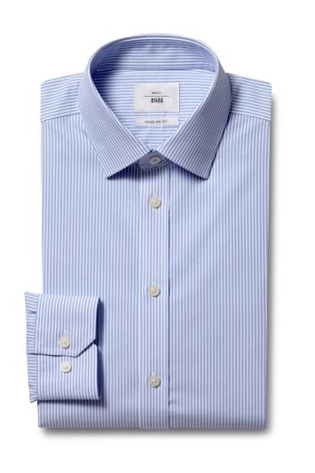 Moss 1851 Regular Fit Blue Single Cuff Bengal Stripe Zero Iron Shirt