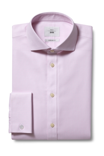 Moss 1851 Regular Fit Pink Double Cuff Puppytooth Zero Iron Shirt