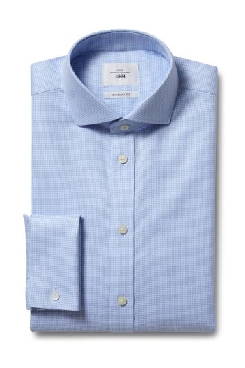 Moss 1851 Regular Fit Blue Double Cuff Puppytooth Zero Iron Shirt