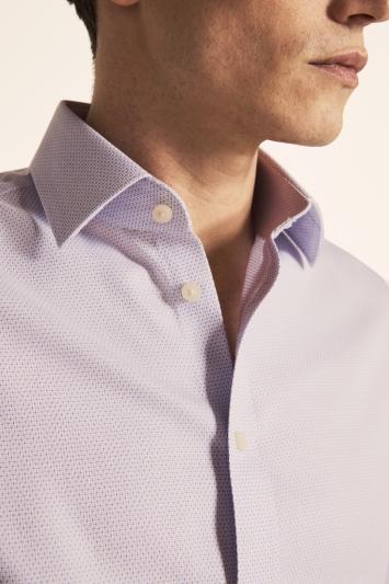 Moss 1851 Regular Fit Lilac Single Cuff Dobby Weave Zero Iron Shirt