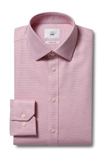 Moss 1851 Regular Fit Red Single Cuff Dobby Weave Zero Iron Shirt