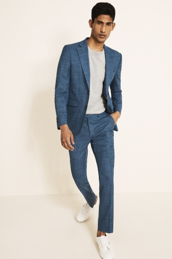 Moss 1851 Slim Fit Blue Texture Jacket