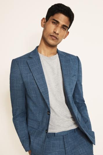 Moss 1851 Slim Fit Blue Texture Jacket