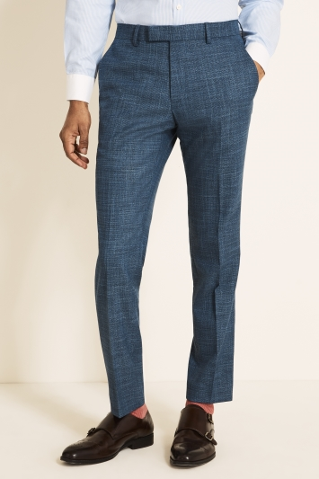 Moss 1851 Slim Fit Blue Texture Trousers